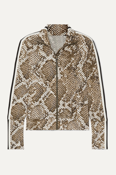 Norma Kamali Jackets Striped snake-print stretch-jersey track jacket