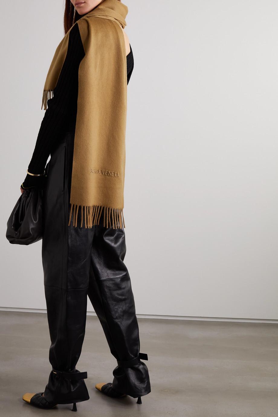 Bottega Veneta Logo-embossed fringed cashmere scarf