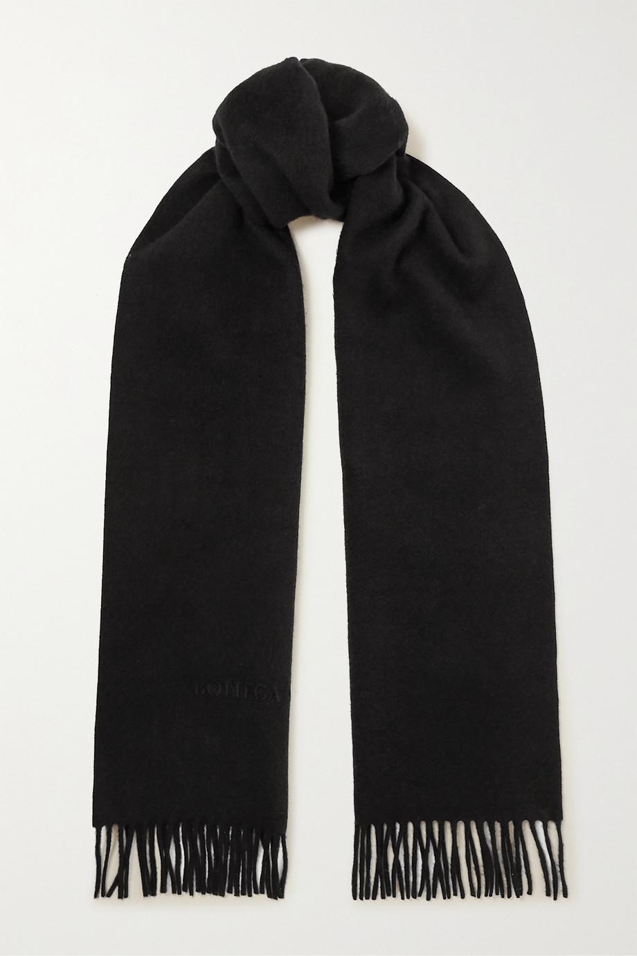 Bottega Veneta Logo-embossed fringed cashmere and wool-blend scarf
