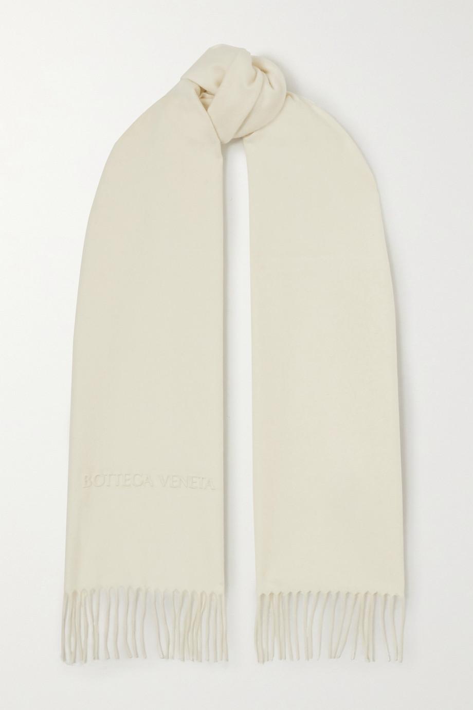 Bottega Veneta Fringed embossed cashmere scarf