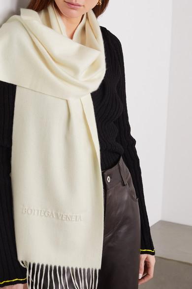 Fringed Embossed Cashmere Scarf by Bottega Veneta