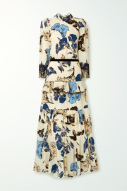 Johanna Ortiz Sheer Decoration velvet and lace-trimmed floral-print silk crepe de chine maxi dress
