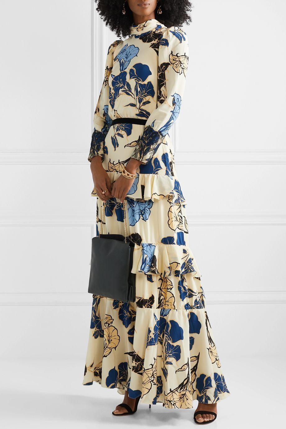 Johanna Ortiz Sheer Decoration velvet and lace-trimmed floral-print silk crepe de chine maxi dress