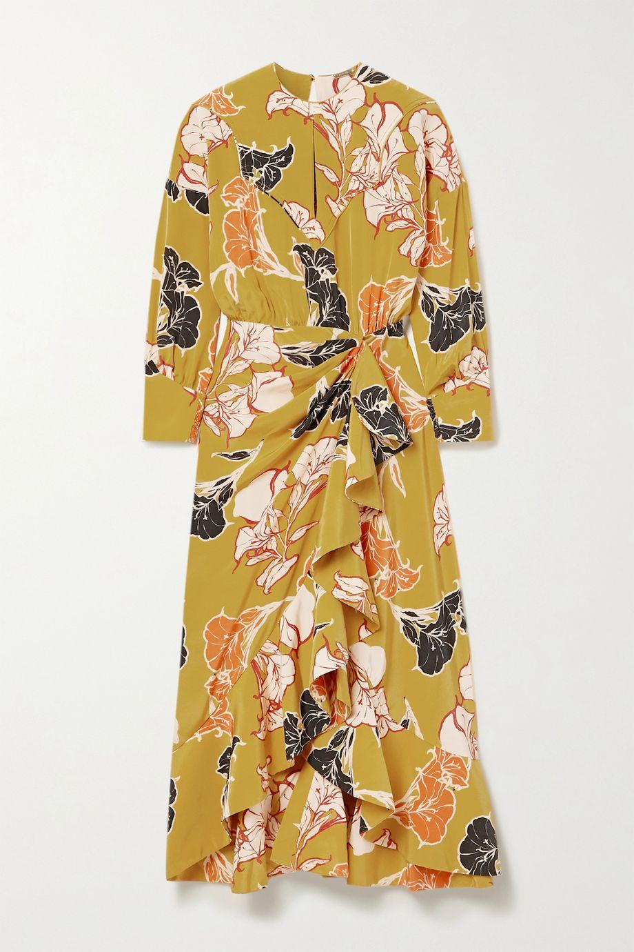 Johanna Ortiz Wrap-effect ruffled floral-print silk crepe de chine midi dress