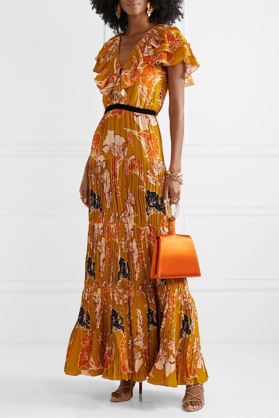 Johanna Ortiz Golden Blossom velvet-trimmed ruffled pleated crepe de chine maxi dress