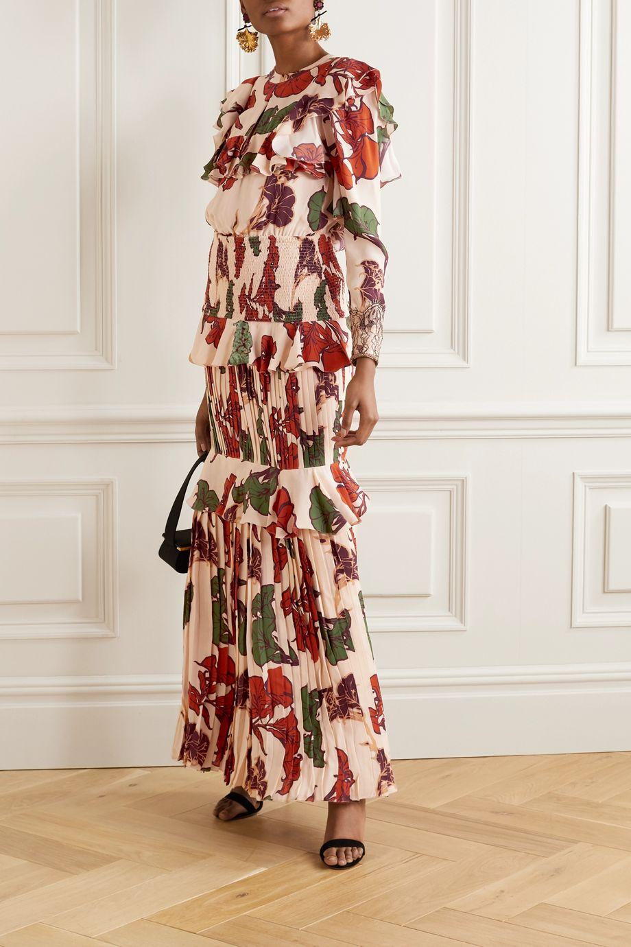 Johanna Ortiz Celebration Of Splendor lace-trimmed ruffled crepe de chine maxi dress