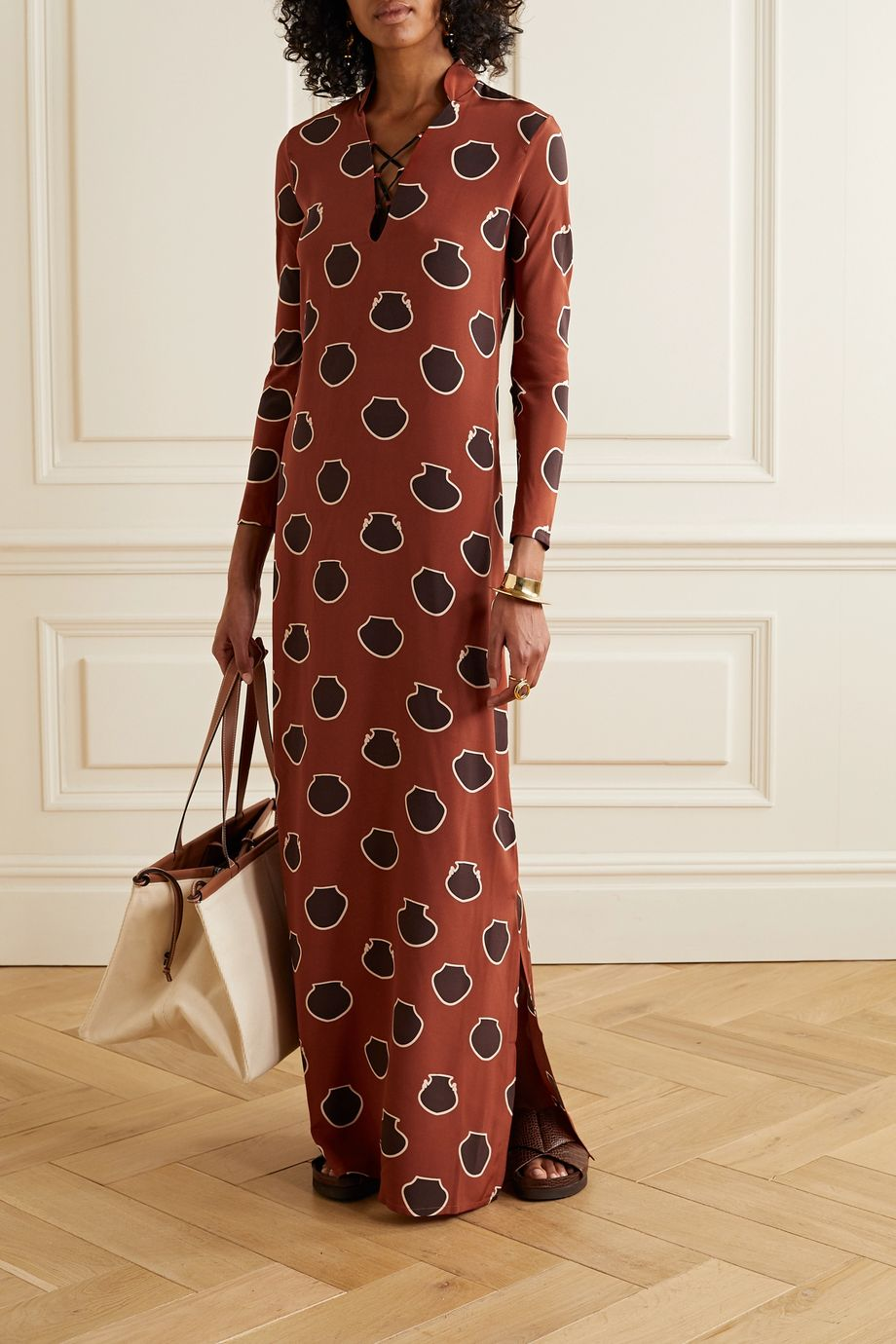 Johanna Ortiz Wander lace-up printed silk crepe de chine maxi dress