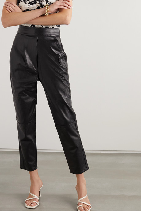 Crossing Legacies leather tapered pants