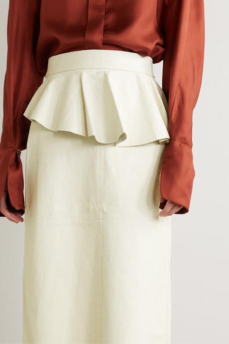 Bewildering ruffled leather midi skirt