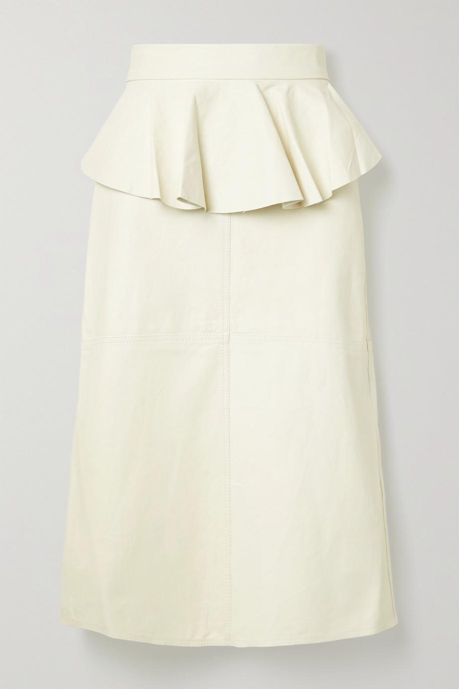 Johanna Ortiz Bewildering ruffled leather midi skirt