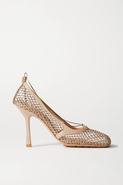 Bottega Veneta Chain-embellished macramé and leather pumps