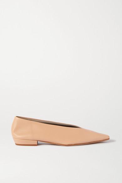 Bottega Veneta Almond Leather Ballet Flats In Neutral