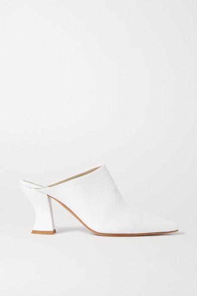 Bottega Veneta Leather Pointed Toe Mules In White