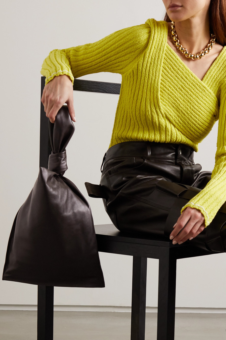 Bottega Veneta BV Twist knotted leather clutch