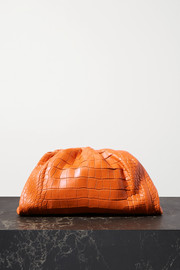 Bottega Veneta The Pouch large gathered alligator clutch