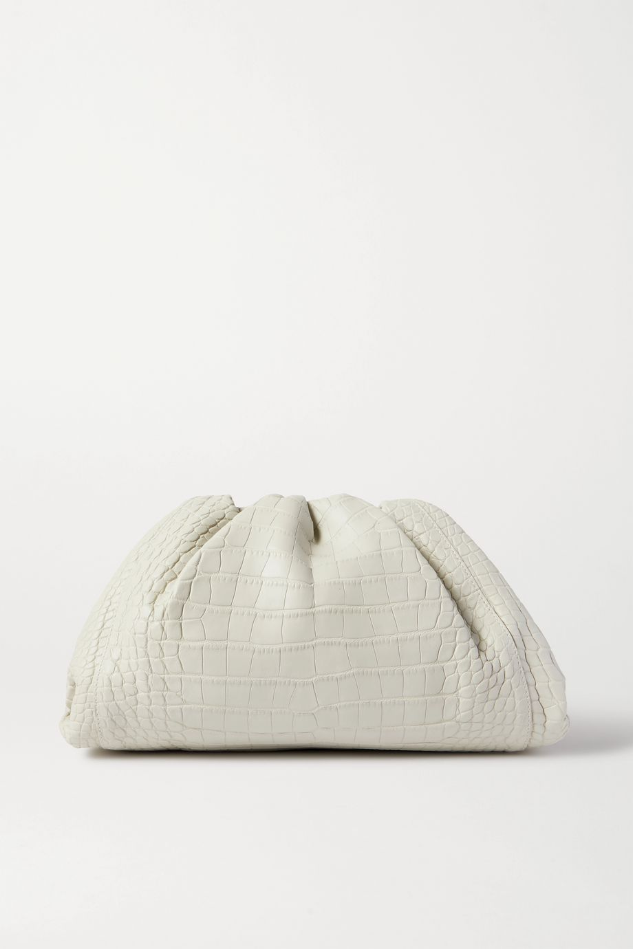 Bottega Veneta The Pouch große Clutch aus Alligatorleder mit Raffungen