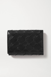 Intrecciato textured-leather wallet