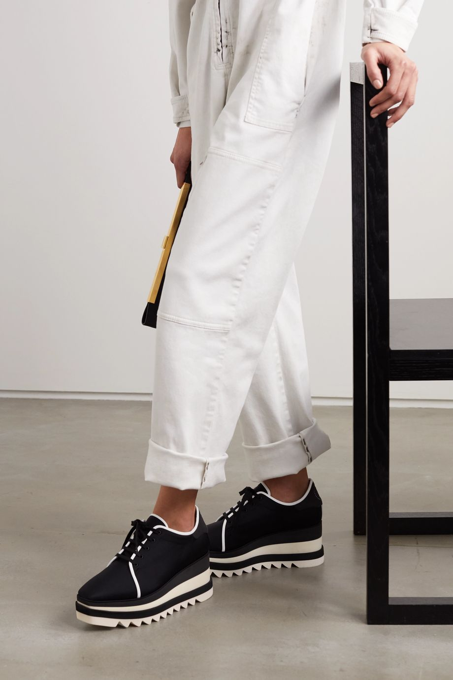 Stella McCartney Elyse faux suede-trimmed neoprene platform brogues