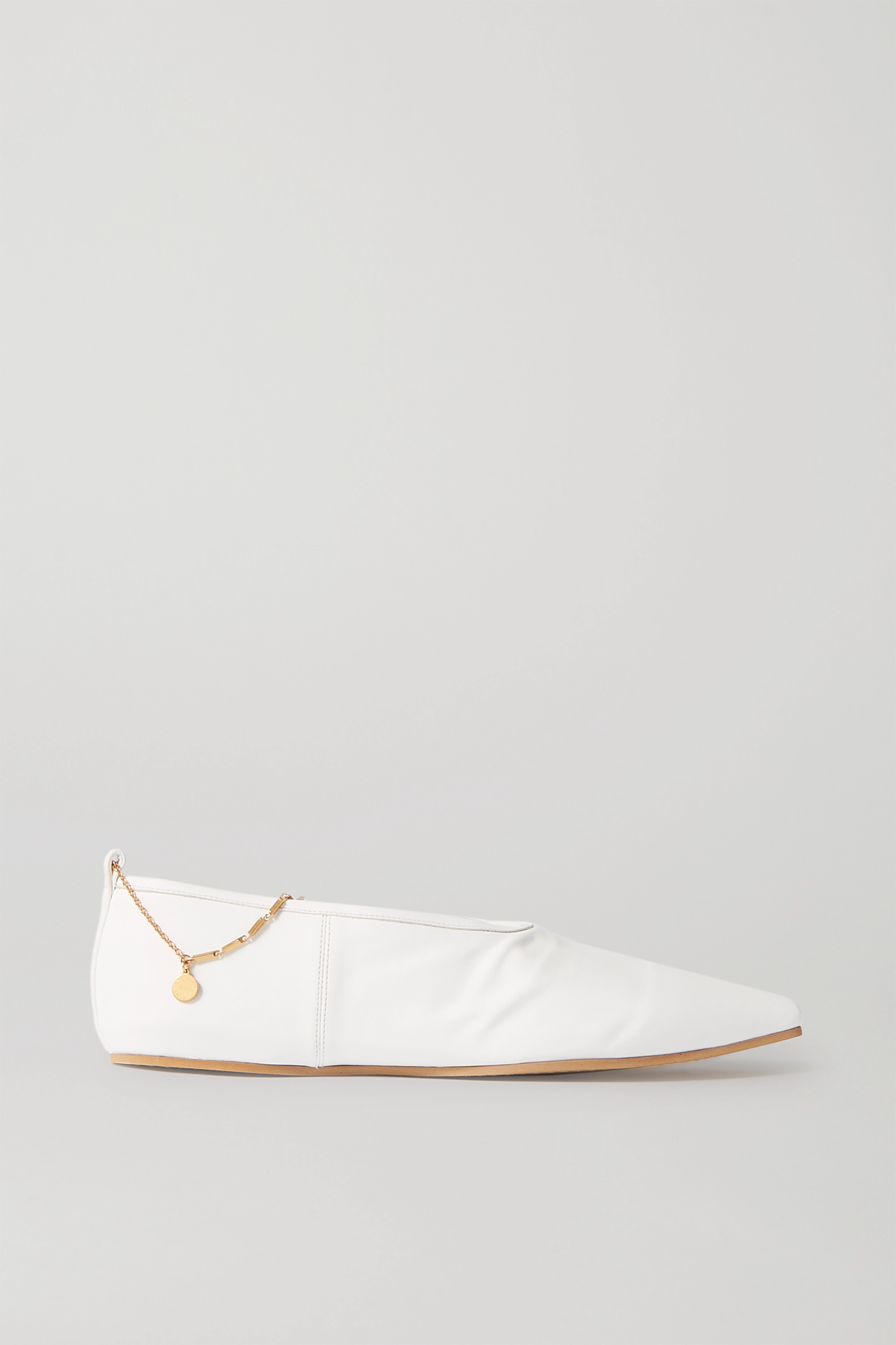 Stella McCartney Chain-embellished vegetarian leather point-toe flats