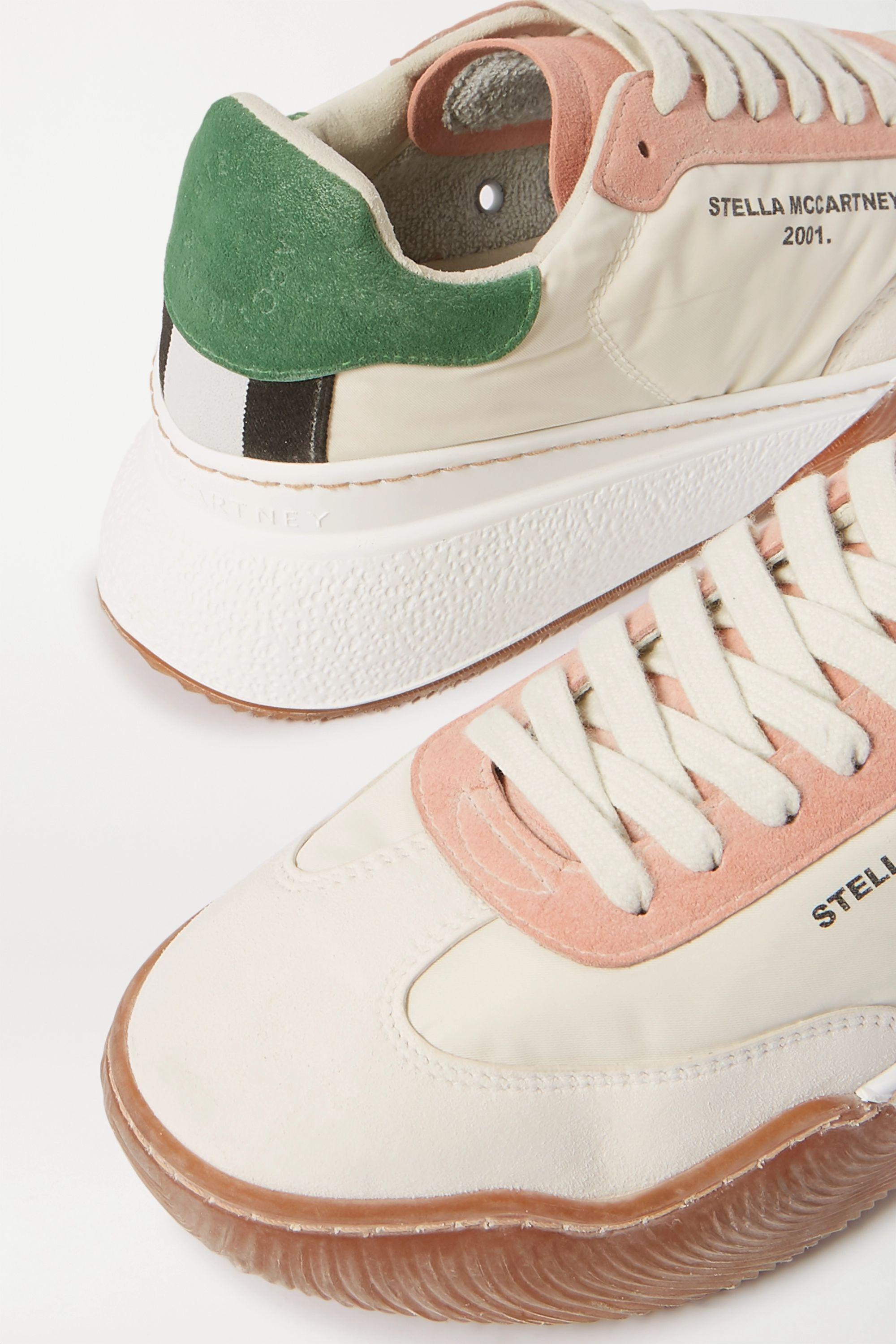 Stella McCartney Loop logo-print canvas and vegetarian suede sneakers