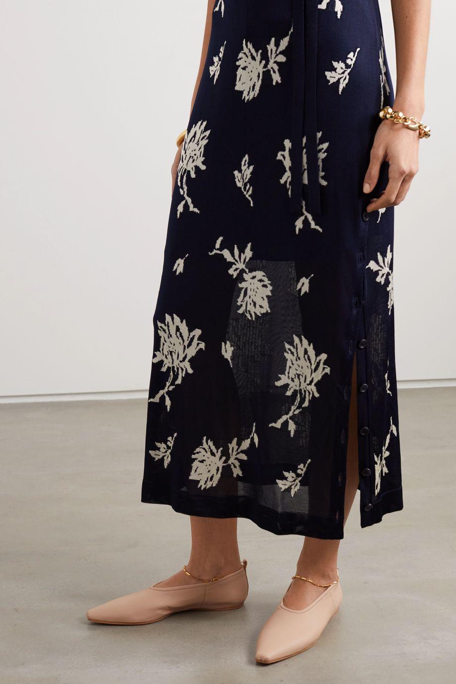 Stella McCartney Chain-embellished vegetarian leather point-toe flats