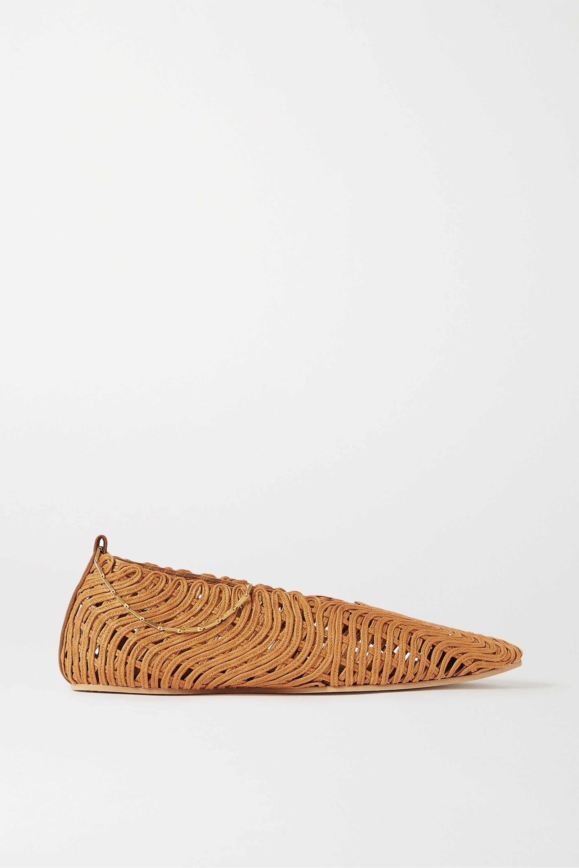 Stella McCartney Chain-embellished woven vegetarian leather ballet flats