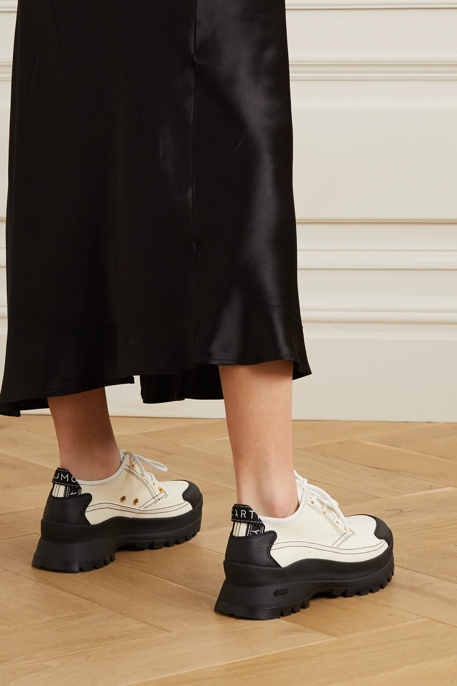 Stella McCartney + NET SUSTAIN canvas and vegetarian textured-leather sneakers