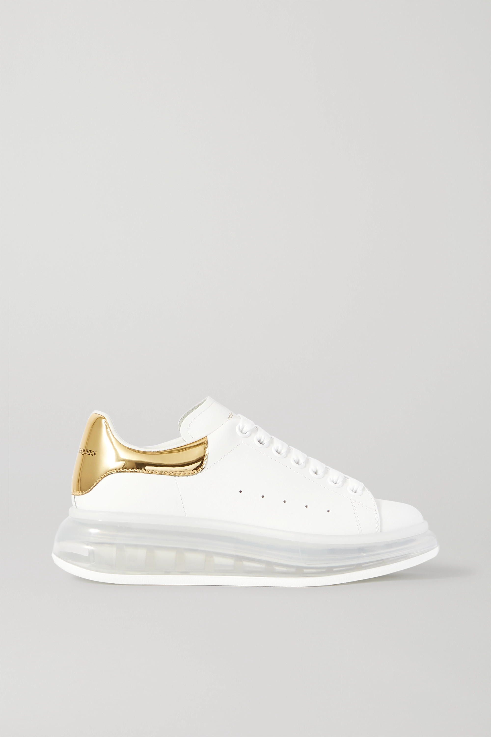 Alexander McQueen Metallic-trimmed leather exaggerated-sole sneakers