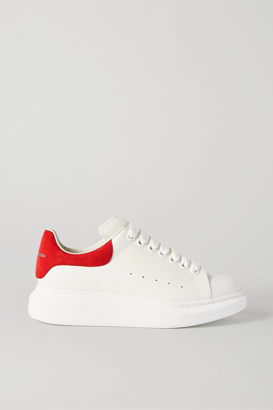 Alexander McQueen Suede-trimmed leather exaggerated-sole sneakers