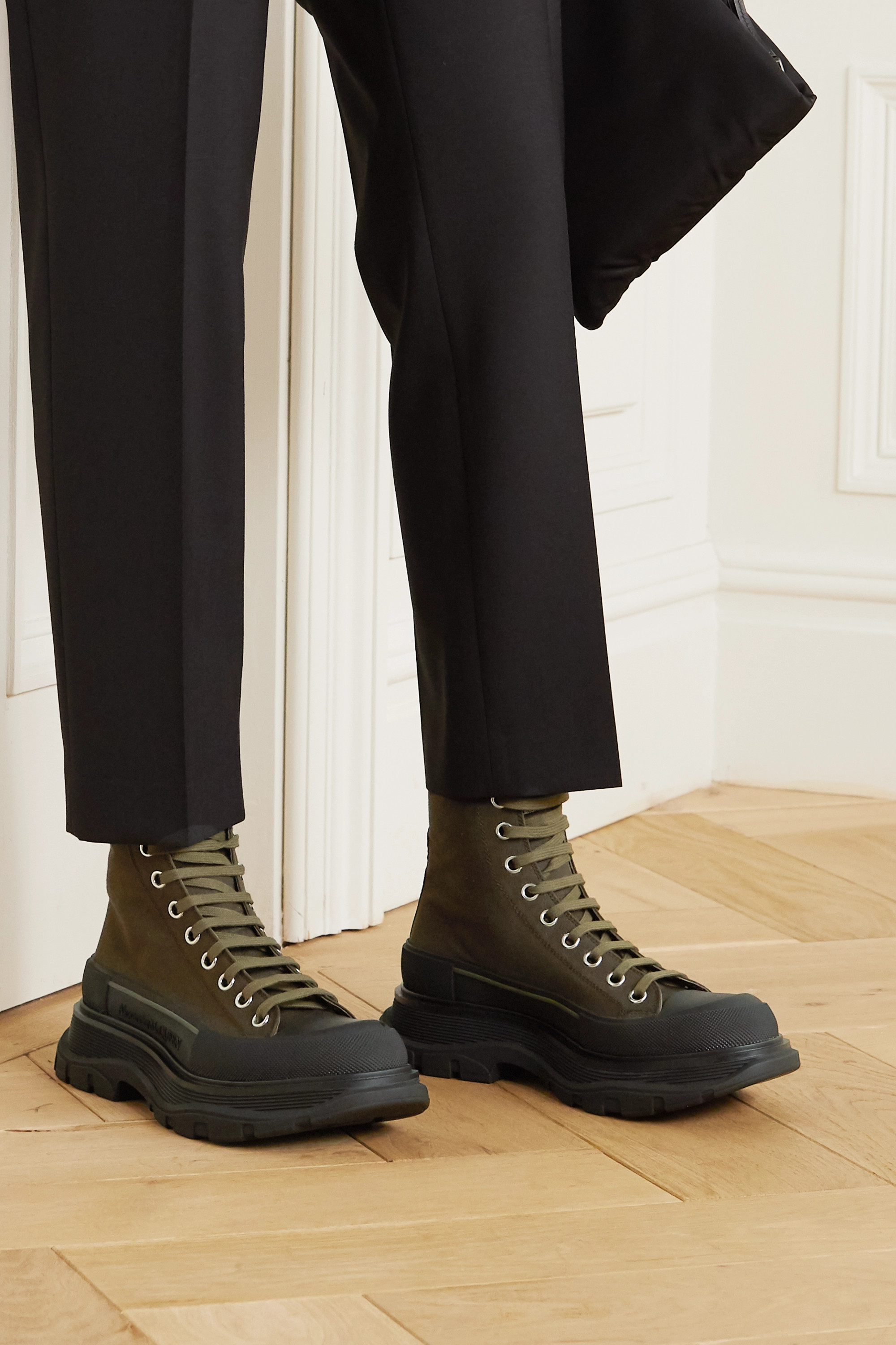 Alexander McQueen Canvas and rubber exaggerated-sole ankle boots