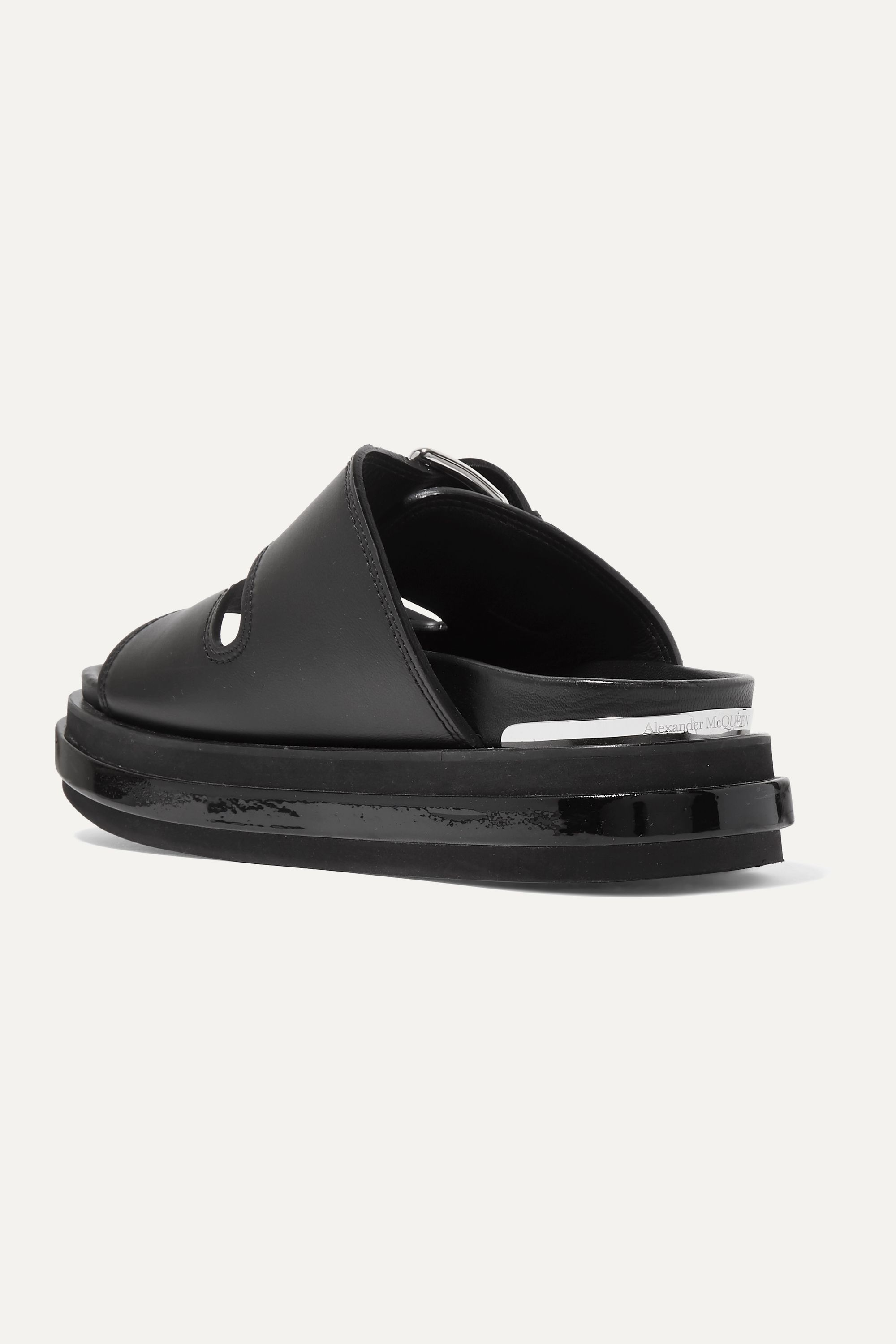 Alexander McQueen Buckled patent-leather trimmed leather platform sandals
