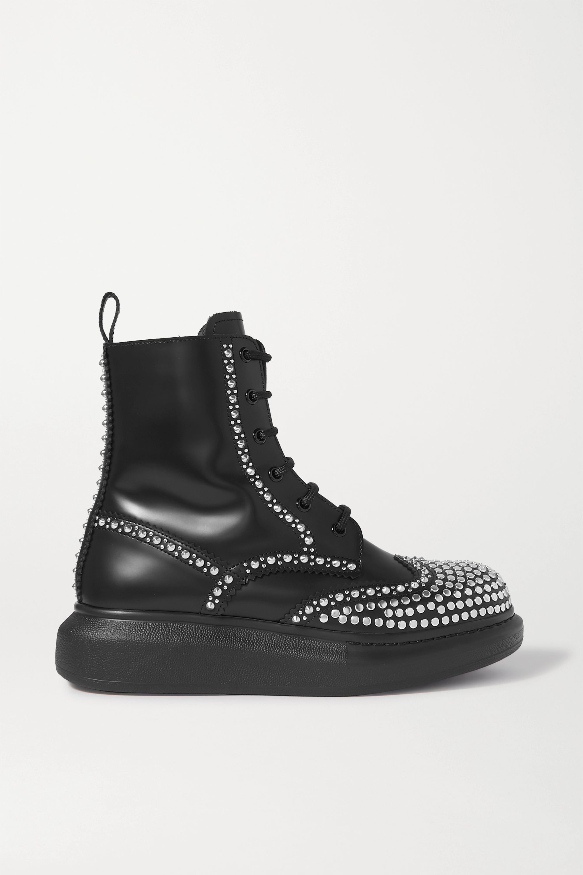 Alexander McQueen Studded leather exaggerated-sole ankle boots