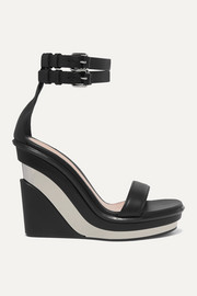 Alexander McQueen Buckled leather wedge sandals