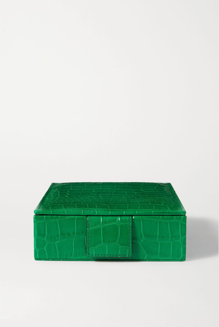 Smythson Mara croc-effect leather jewelry box
