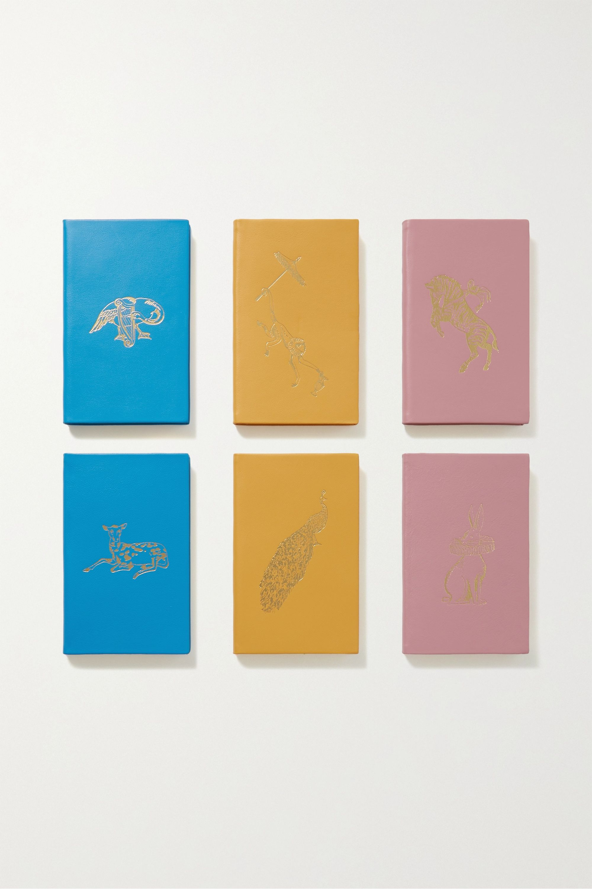 Smythson Managerie set of 6 textured-leather notebooks
