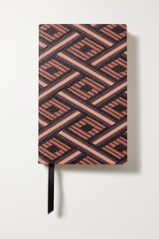 Panama printed textured-leather notebook