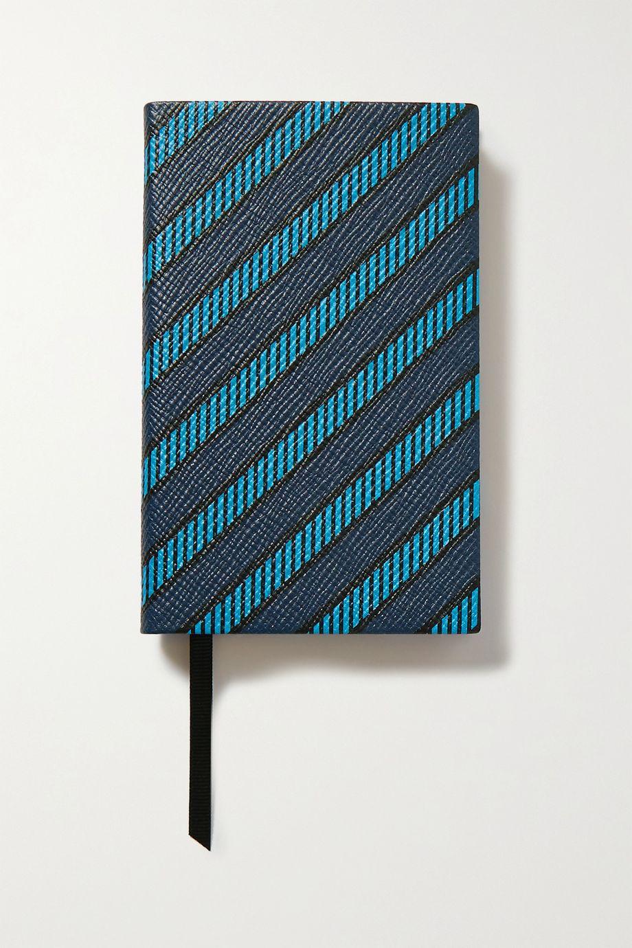 Smythson Panama printed textured-leather notebook