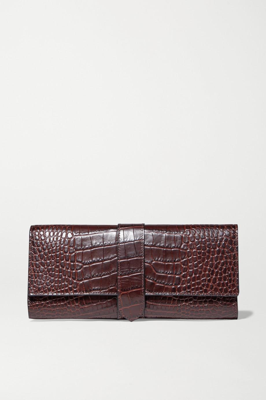 Smythson Mara croc-effect leather jewelry roll