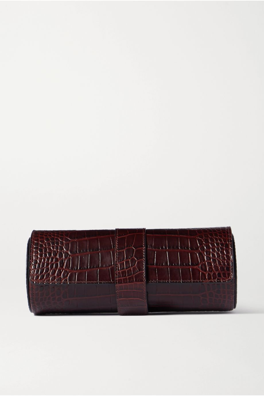 Smythson Mara glossed croc-effect leather watch roll