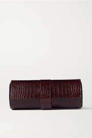 Mara glossed croc-effect lleather watch roll
