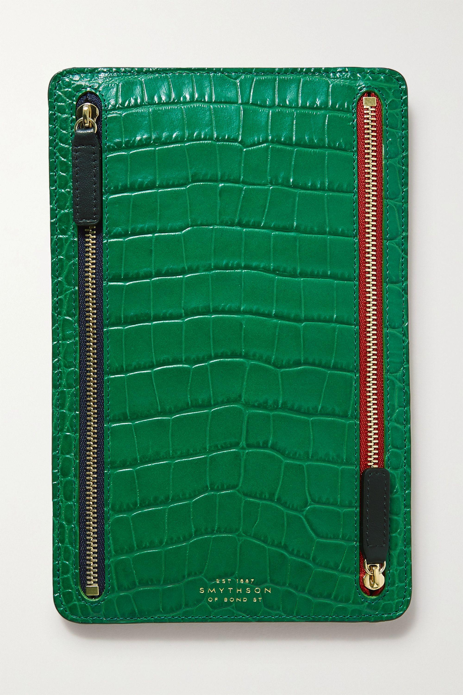Smythson Mara croc-effect leather wallet