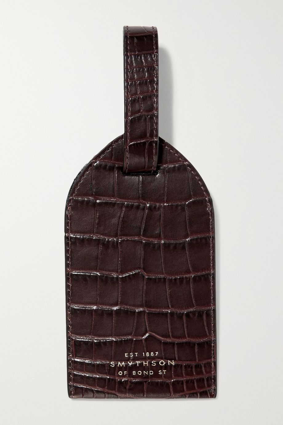 Smythson Mara croc-effect leather luggage tag