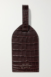 Mara croc-effect leather luggage tag