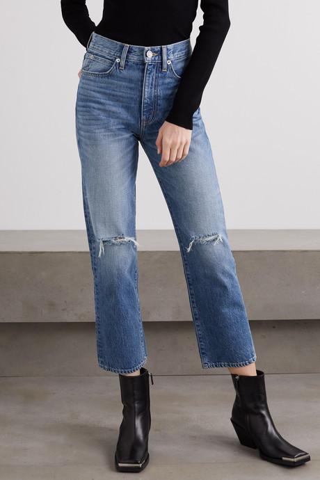 London Crop distressed high-rise straight-leg jeans