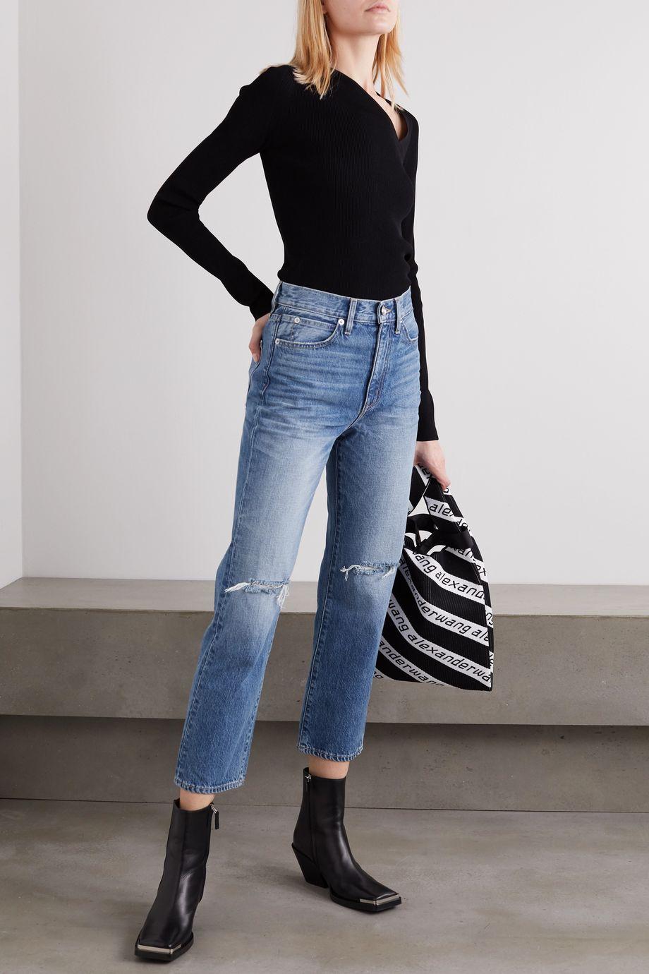 SLVRLAKE London Crop distressed high-rise straight-leg jeans