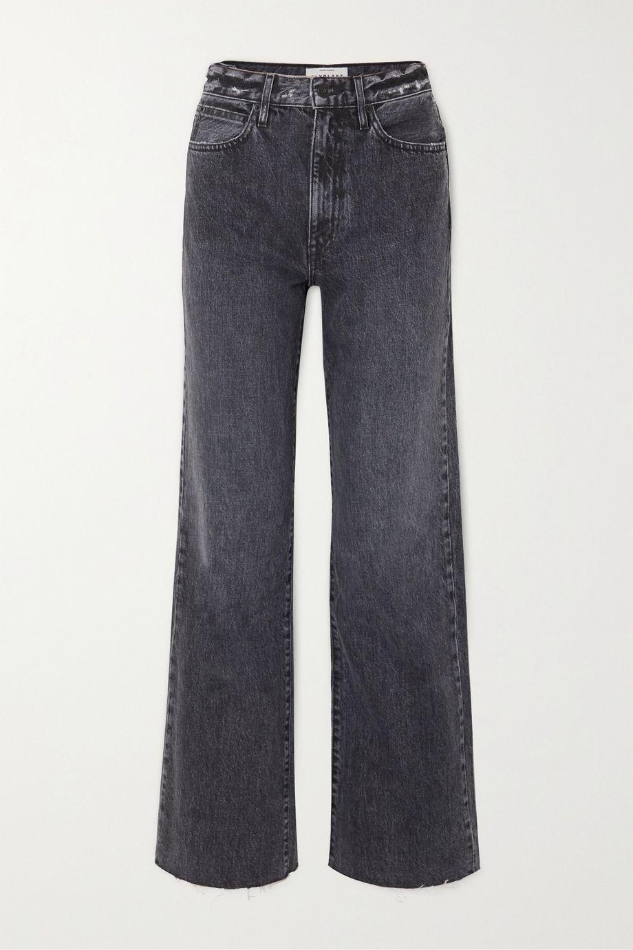 SLVRLAKE Grace frayed high-rise wide-leg jeans