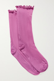 Nike Ruffled embroidered Dri-FIT tulle socks