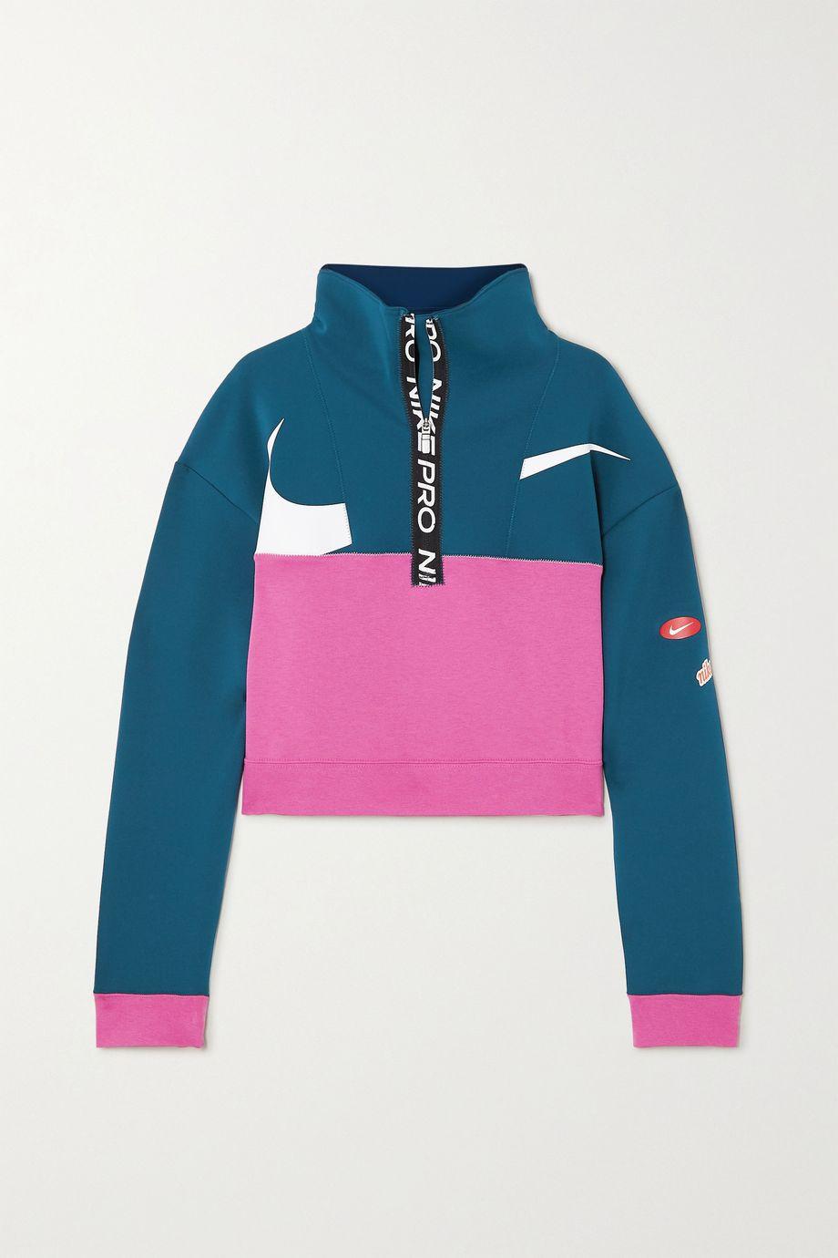 Nike Cropped color-block Dri-FIT fleece sweatshirt