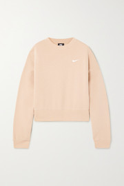 Nike Cropped embroidered cotton-blend jersey sweatshirt