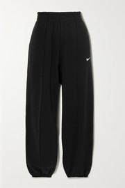 Nike Embroidered cotton-blend fleece track pants